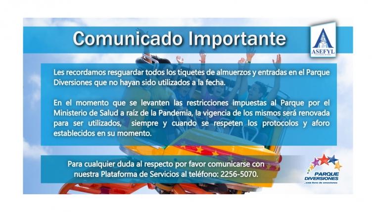 Comunicado importante Parque Diversiones