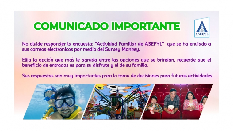 Comunicado importante encuesta Survey Monkey