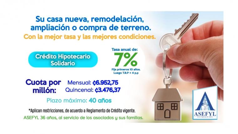 Crédito Hipotecario Solidario, con la mejor tasa y las mejores condiciones.