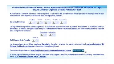 Apertura de Inscripciones de candidaturas de Junta Directiva y Órgano de la Fiscalía de ASEFYL.