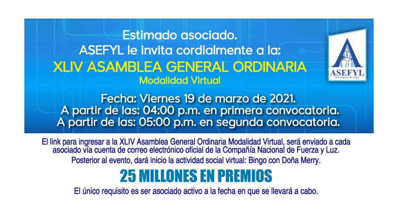 Invitación a la XLIV Asamblea General Ordinaria.
