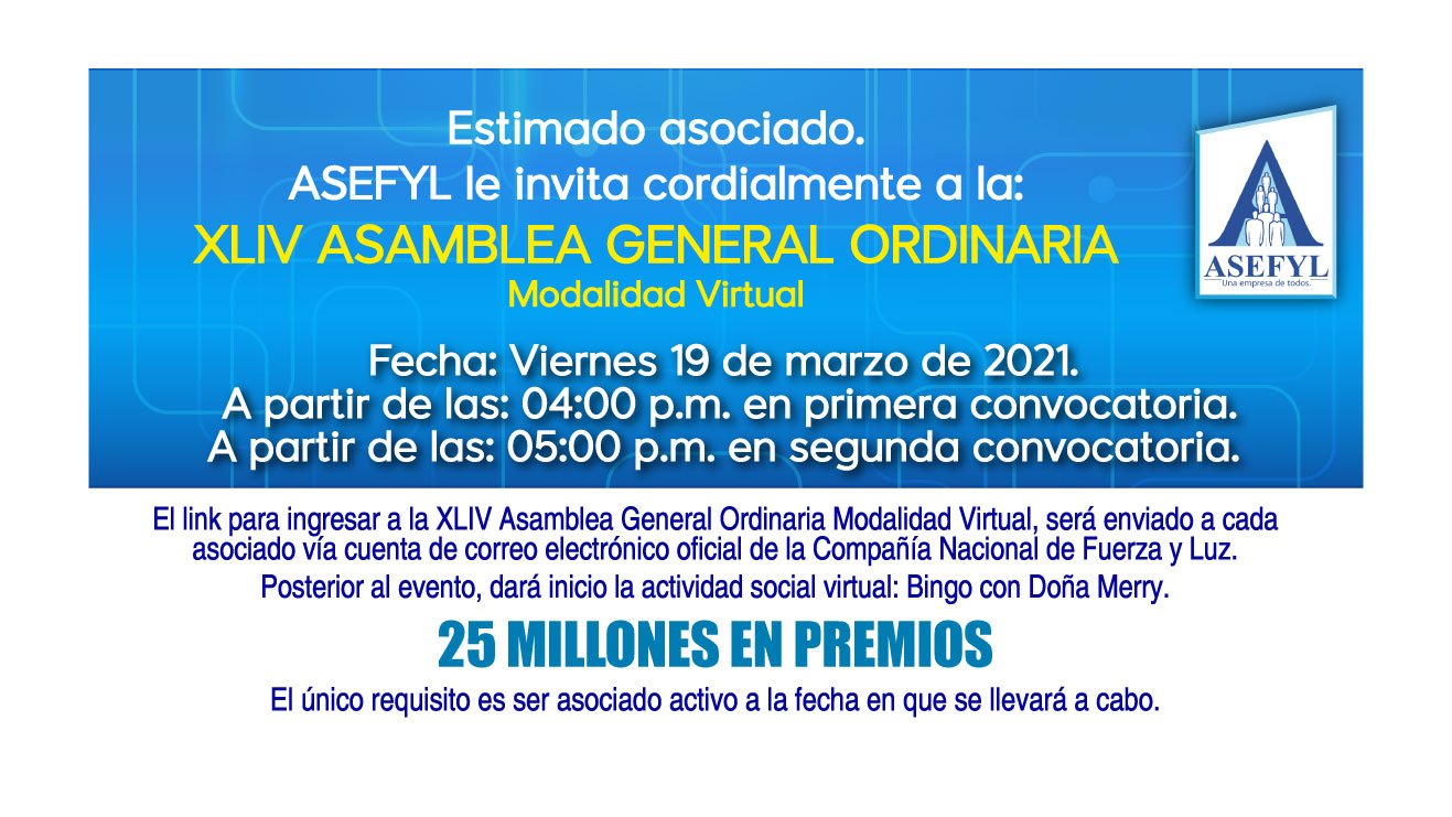 Invitación a la XLIV Asamblea General Ordinaria.