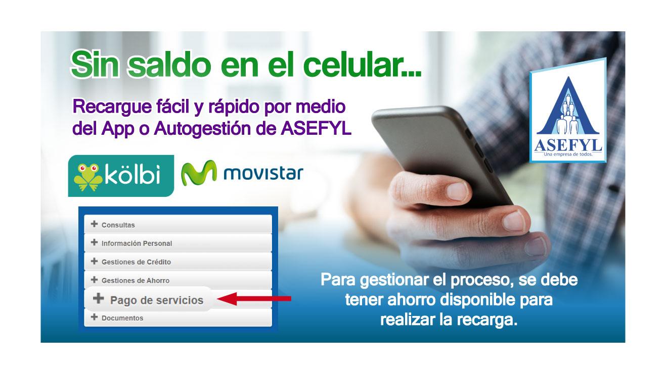 Sin saldo en su celular, recargue fácil y rápido con ASEFYL