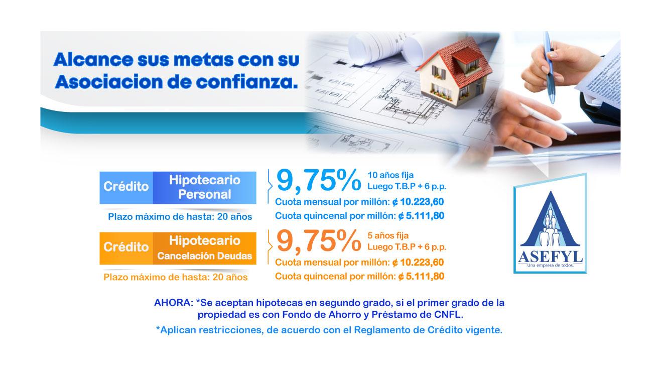 Crédito Hipotecario Personal y Cancelación de Deudas.