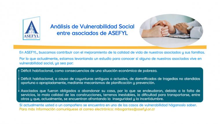 Análisis de Vulnerabilidad Social entre asociados de ASEFYL.
